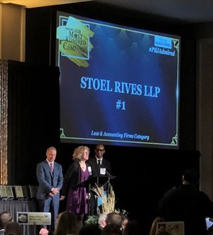 "Stoel Rives Named Top Law Firm in PBJ ""Oregon's 2018 Most Admired"